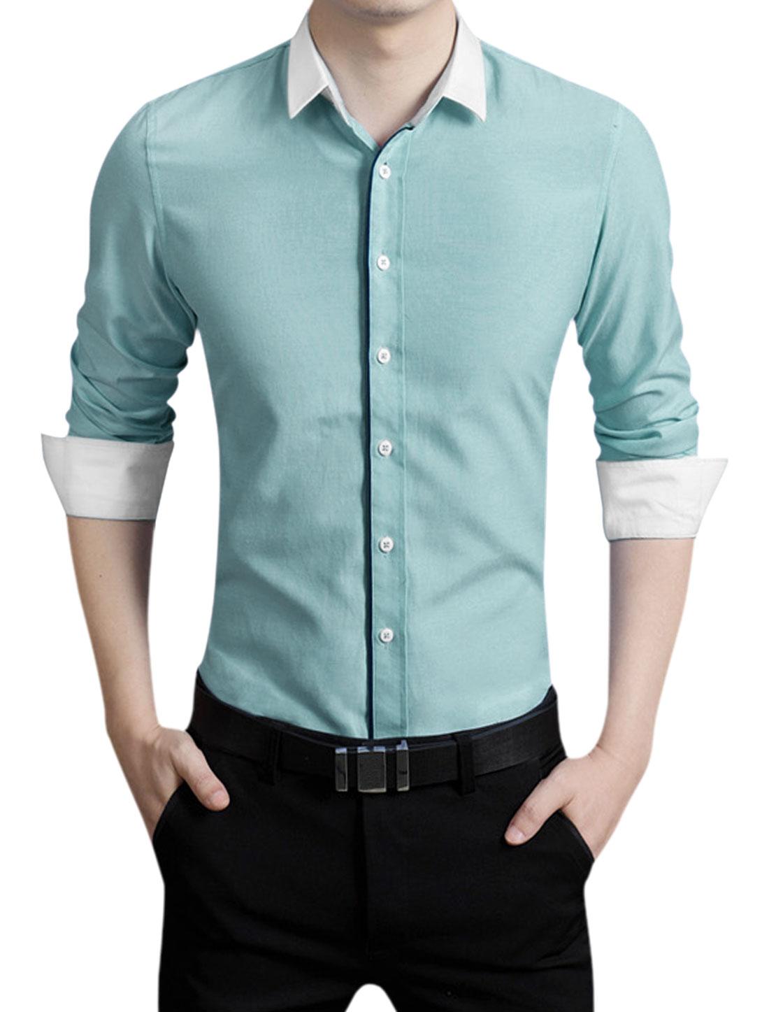 Men Long Sleeves Poplin Button Closed Slim Fit Basic Shirt Mint M