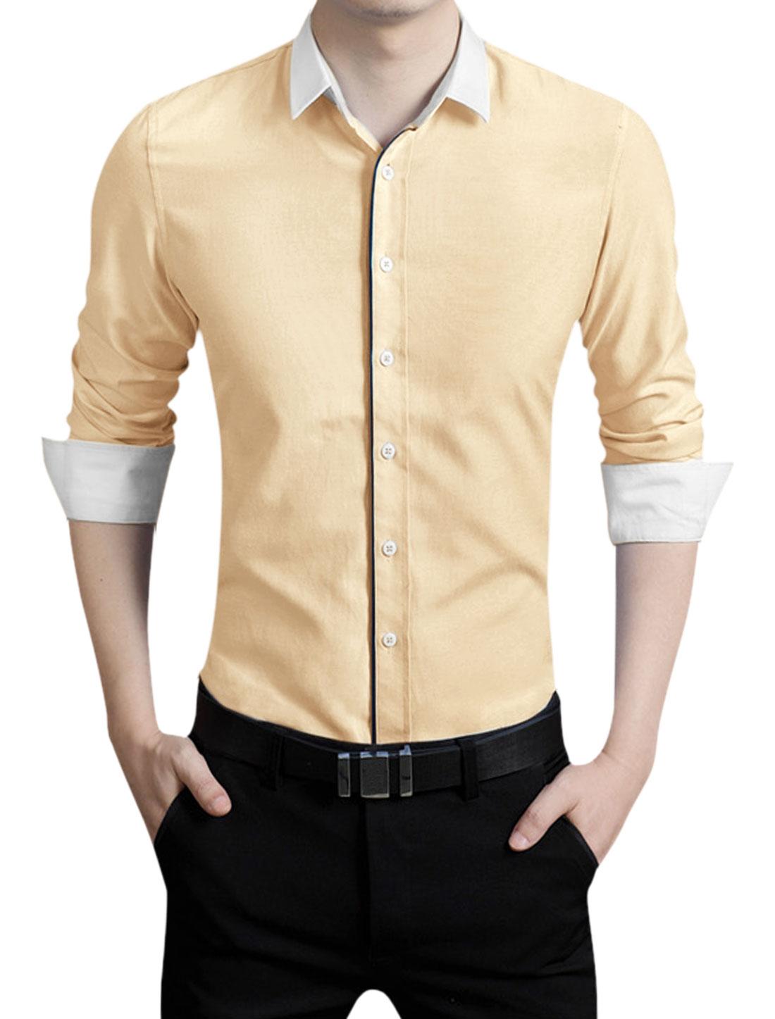 Men Point Collar Slim Fit Lightweight Casual Long Sleeves Shirt Yellow M