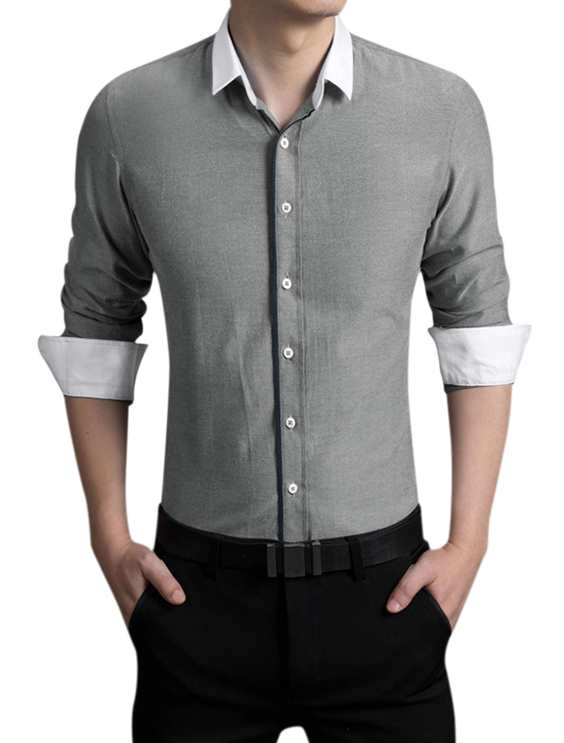 Men Long Sleeves Point Collar Classic Fit Button Closed Shirt Gray M