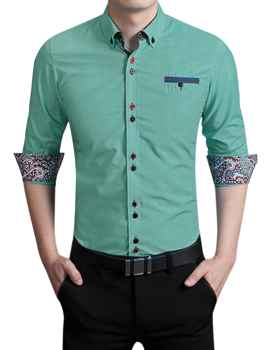 Men Point Collar Single Breasted Front Slim Fit Shirt Green M