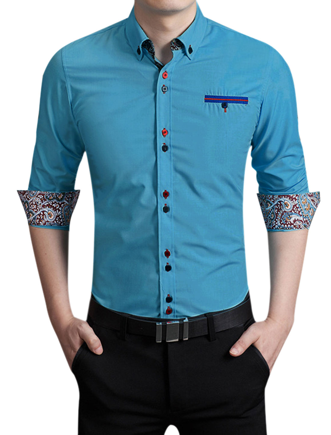 Men Long Sleeves Button Closure Leisure Shirt Turquoise M