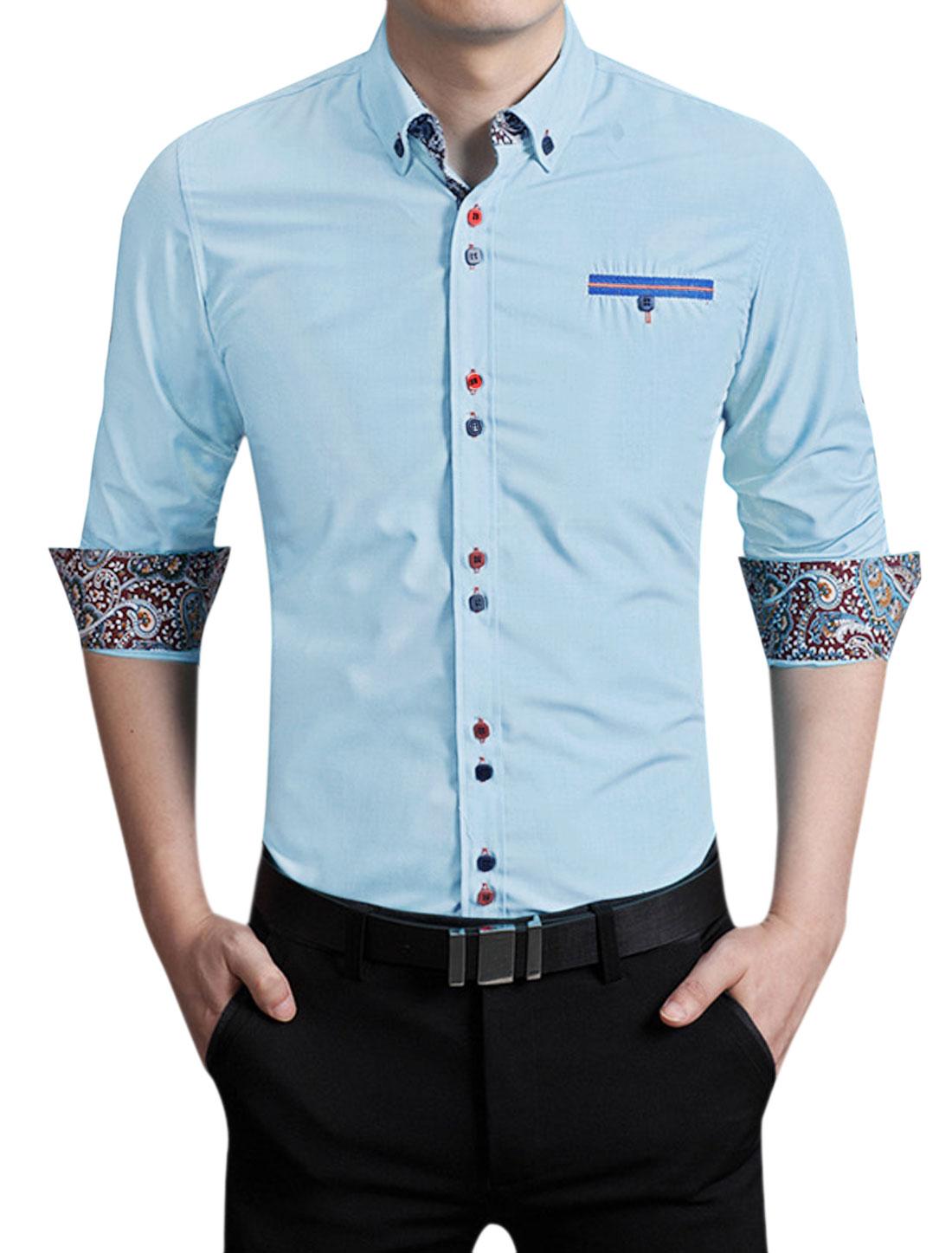 Men Long Sleeves Mock Pocket Button Closed Shirt Sky Blue M