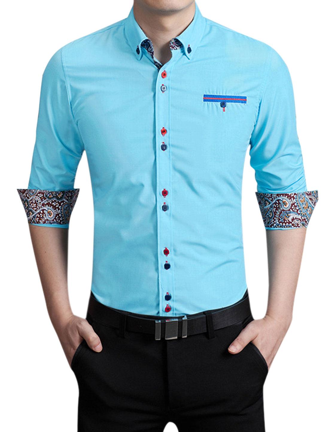 Men Button Collar Long Sleeves Form Fitting Shirt Light Blue M