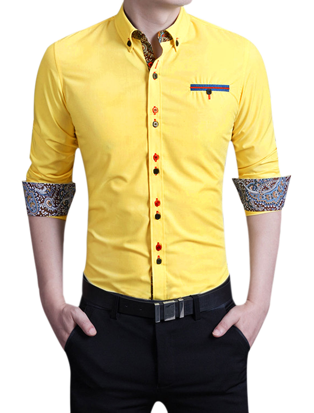 Men Long Sleeves Round Hem Button Closed Front Shirt Yellow M
