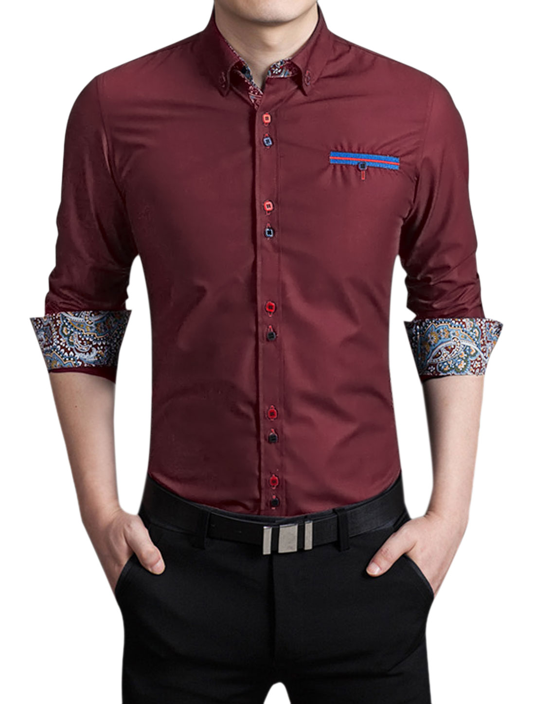 Men Long Sleeves Button Collar Single Breasted Shirt Red M