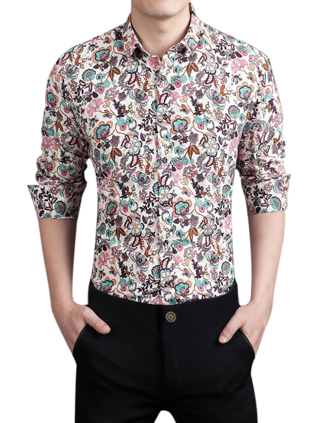 Men Point Collar Long Sleeves Floral Prints Shirt Blue M