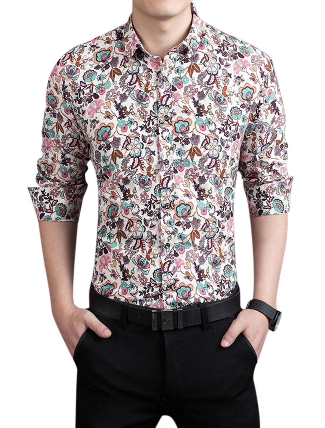 Men Button Closed Front Flower Prints Casual Shirt Blue M