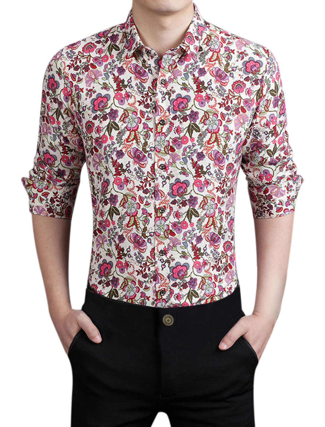 Men Single Breasted Floral Pattern Slim Fit Shirt Red M