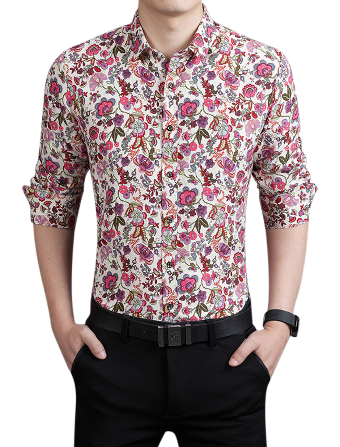 Men Flower Pattern Long Sleeves Button Down Shirt Red M