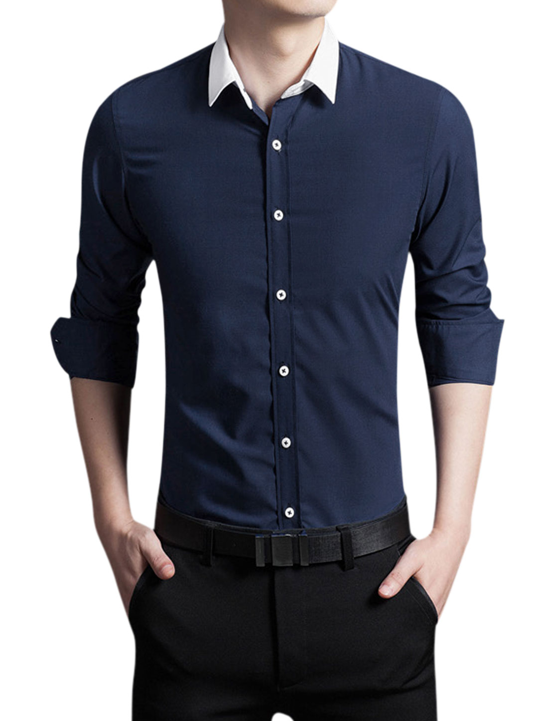 Man Point Collar Button Up Slim Fit Long Sleeves Shirt Navy Blue M