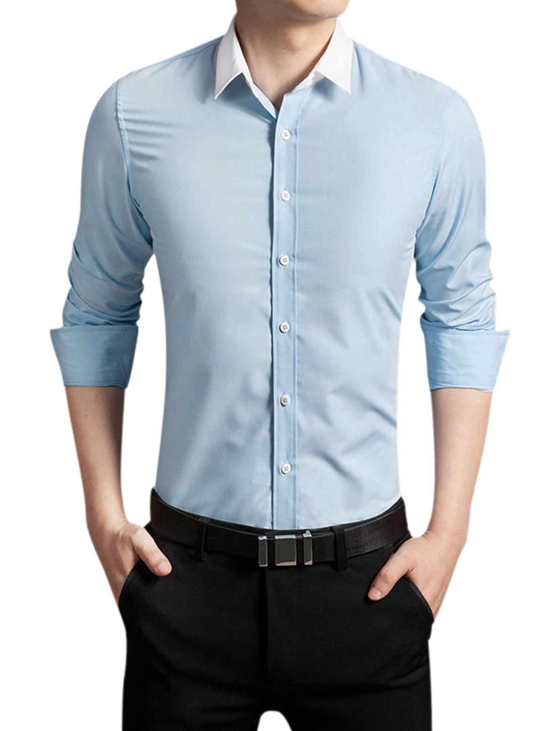 Man Point Collar Long Sleeves Button Closed Casual Shirt Baby Blue M