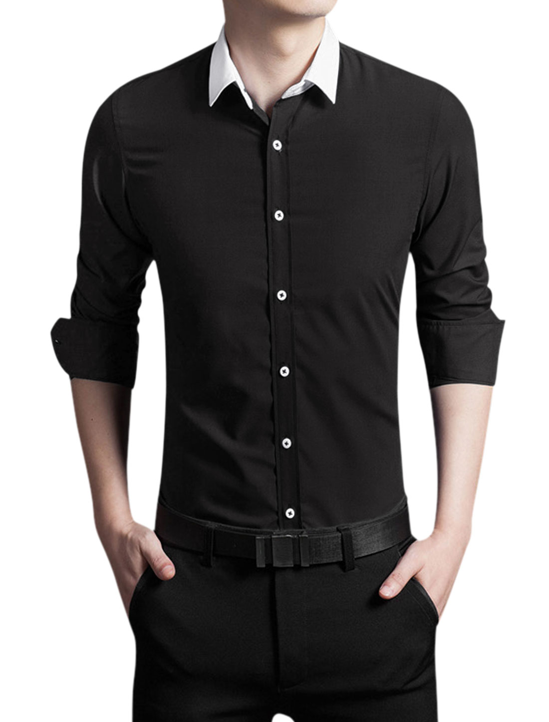 Man Point Collar Button Front Slim Fit Long Sleeves Shirt Black M
