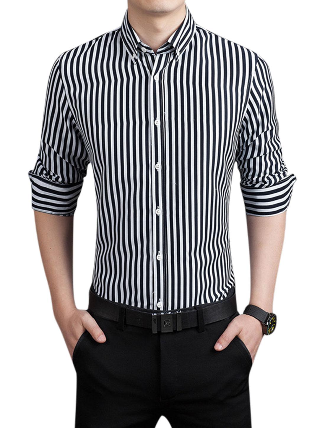 Men Point Collar Button Closed Stripes Shirt Navy Blue M