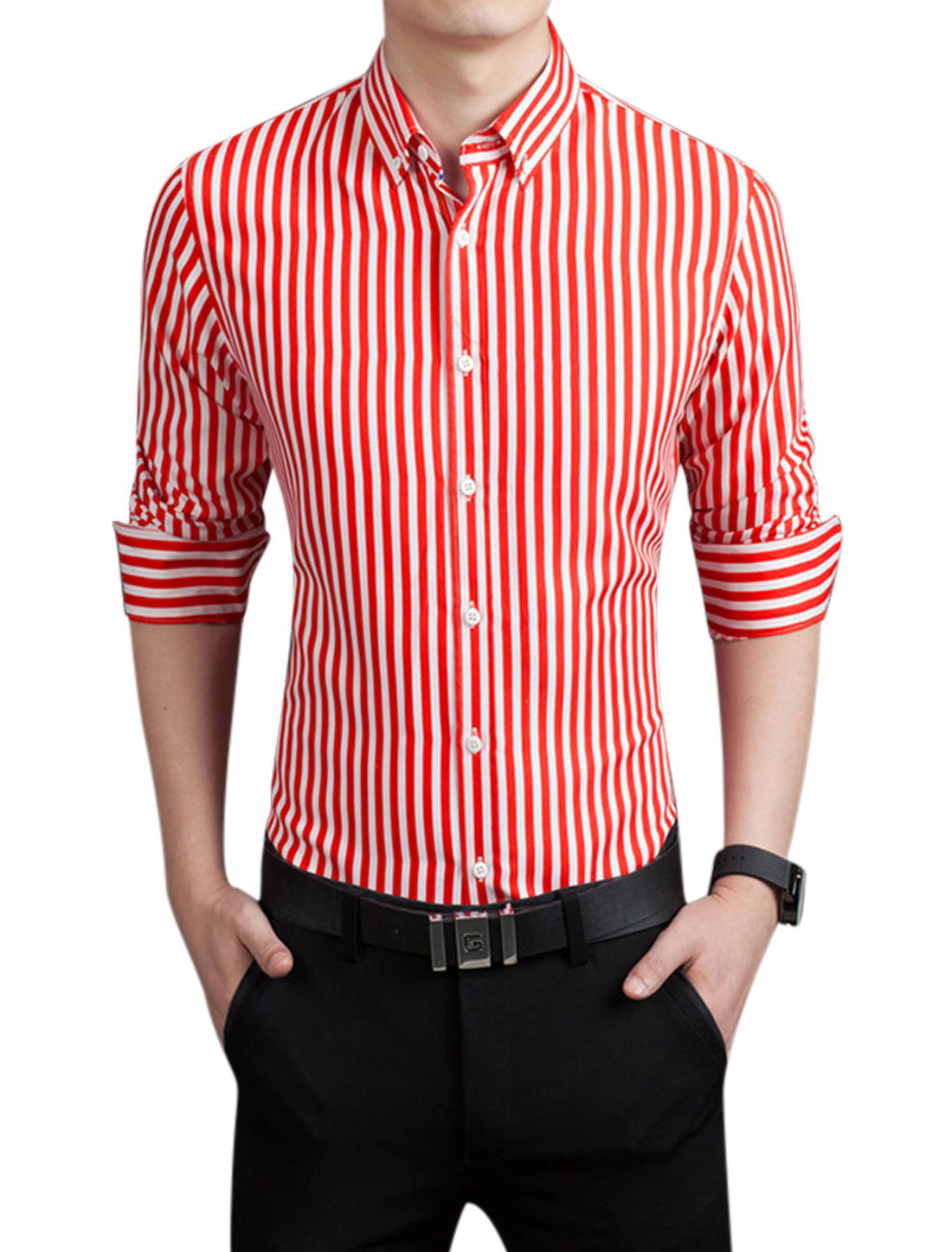 Men Round Hem Slim Fit Stripes Single Breasted Shirt Red M