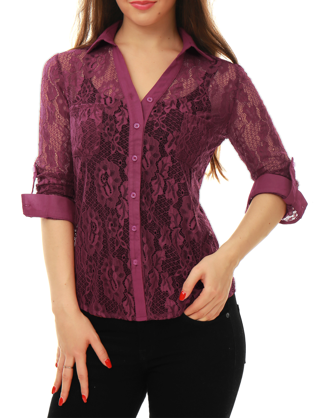 Women Roll Up Sleeves See Through Floral Lace Shirt Purple XS