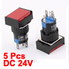 5pcs Red Light Squared Cap Panel Mounting Push Button Switch DC 24V