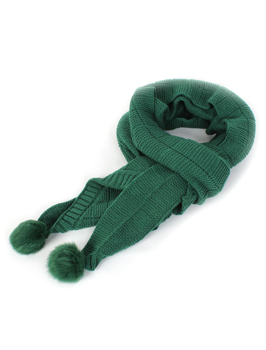 Winter Soft Warm Acrylic Casual Knitted Faux Fur Fluffy Ball Decor Stretchy Scarf Neckerchief