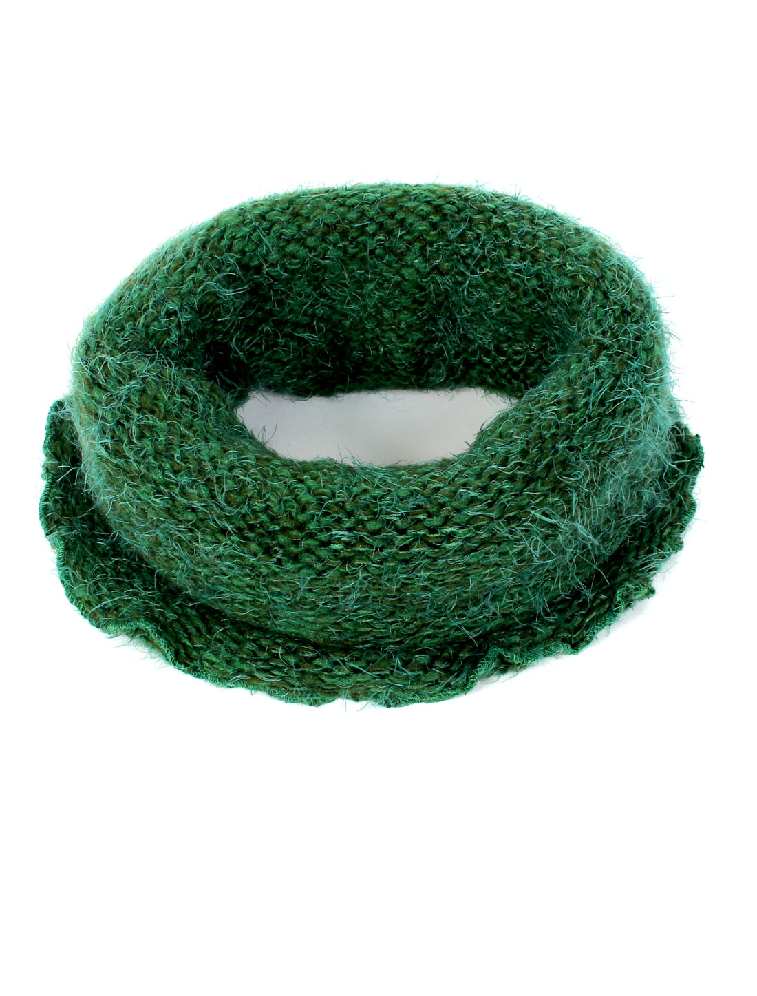 Women Winter Soft Warm Knitted Circle Wide Stretchy Scarf Neckerchief Dark Green