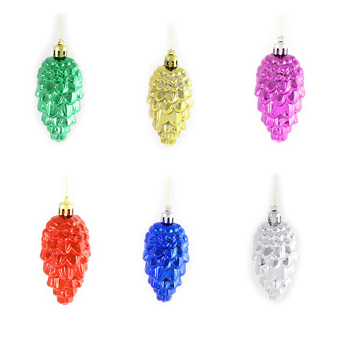 6Pcs Christmas Tree Pine Cone Pendant Hanging Ornament Multicolor