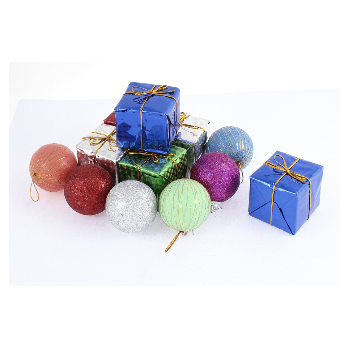 12 in 1 Multicolored Sponge Balls Baubles Cubic Gift Box Christmas Tree Hanger Hanging Decoration