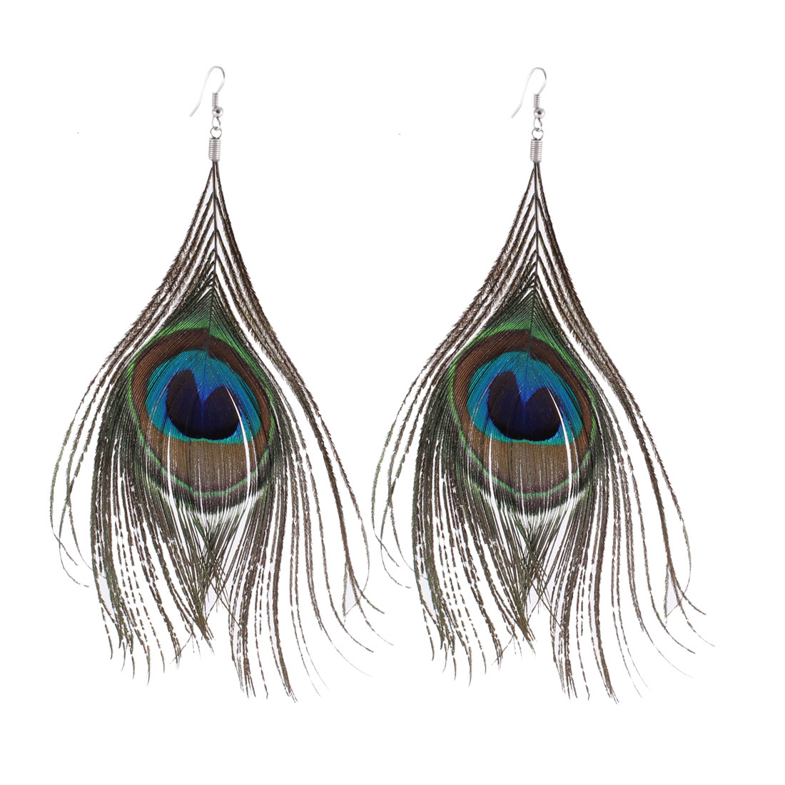 Ladies Feather Peacock Design Pendant Detailing Fish Hook Earrings Brown Silver Tone Pair