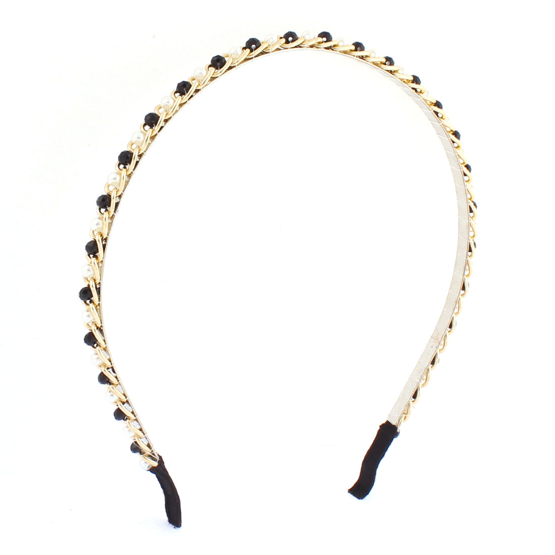Lady Faux Beads Rhinestone Inlaid Metal Chain Decor Hair Hoop Hairband Headband Hairpin Headdressing