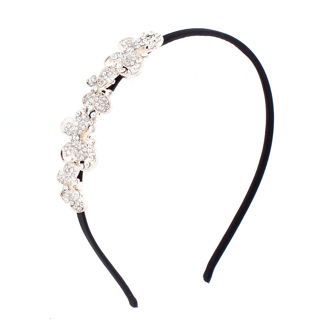 Women Lady Rhinestone Inlaid Butterfly Decor Hair Hoop Hairband Headband Hairpin Clip