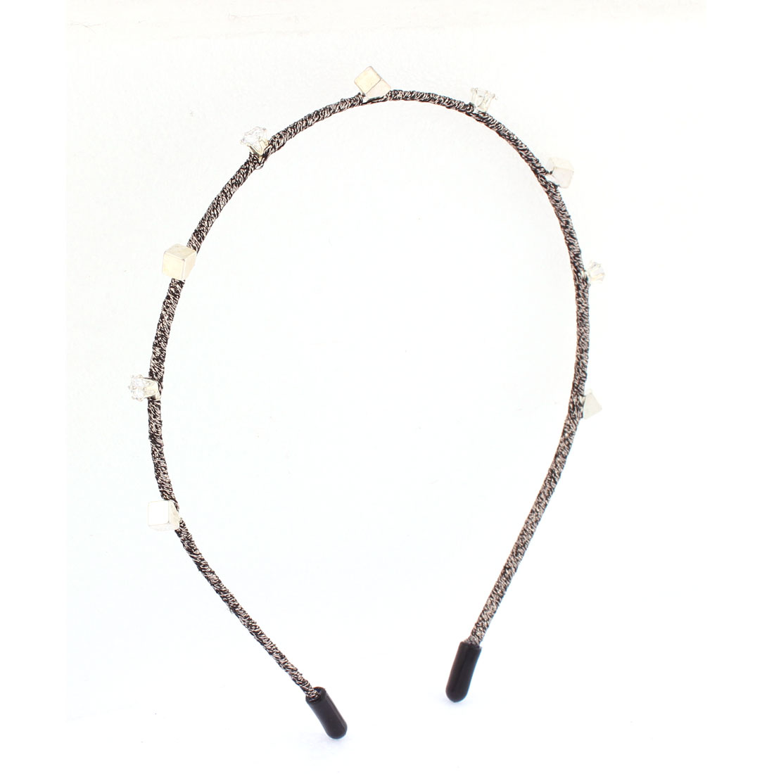 Rhinestone Inlaid Knitted String Hair Hoop Headband Hairband for Lady