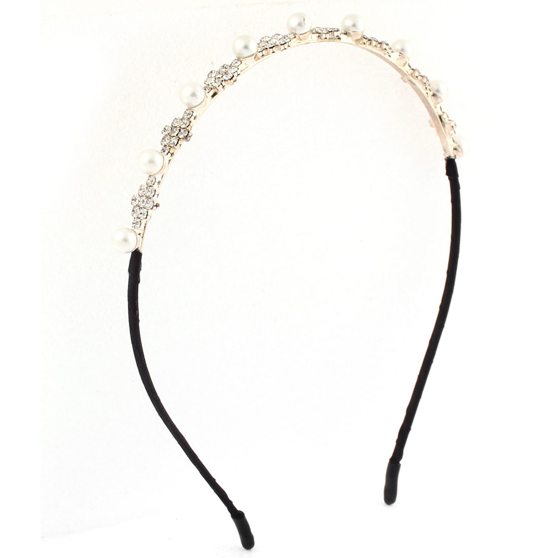 Lady Rhinestone Inlaid Plastic Imitation Pearl Decor Hair Hoop Bangs Hairband Headband