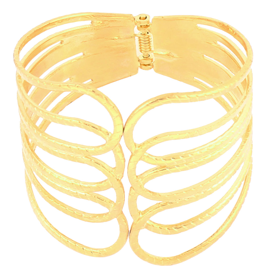 Women Multilayer Metal Rings Wrist Decor Cuff Bracelet Wide Bangle Gold Tone