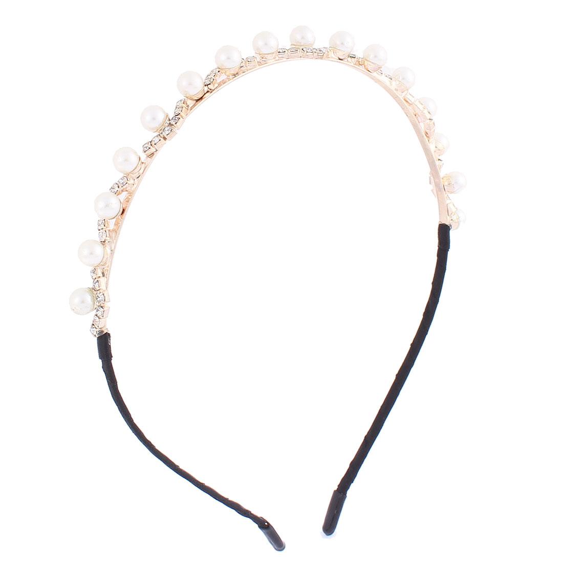 Rhinestone Inlaid Plastic Imitation Pearl Decor Hair Hoop Bangs Hairband Headband Silver Tone