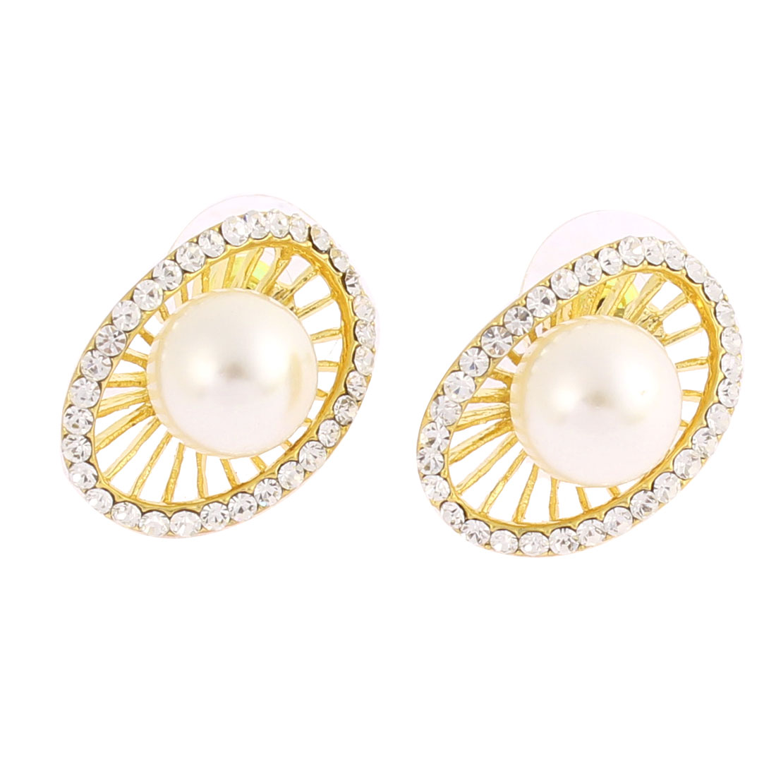 Woman Party Faux Rhinestone White Imitation Pearl Gold Tone Circle Shaped Stud Earrings Ear Pins Nails Pair