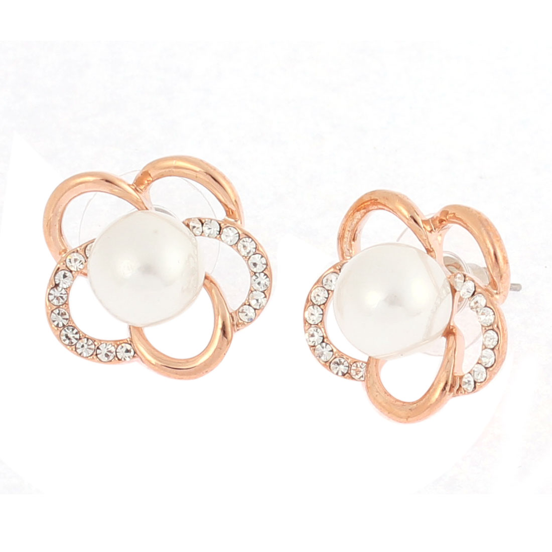 Lady Faux Rhinestone White Imitation Pearl Detail Hollow Flower Stud Earrings Ear Pins Nails Gold Tone Pair
