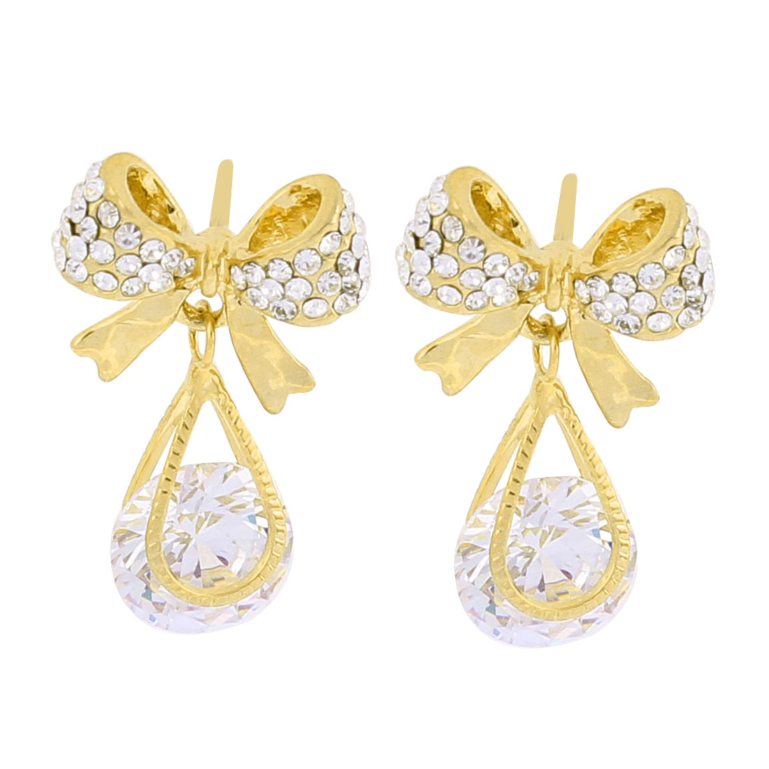 Faux Rhinestone Pandent Detail Bowknot Stud Earrings Ear Pins Nails Gold Tone Pair for Woman