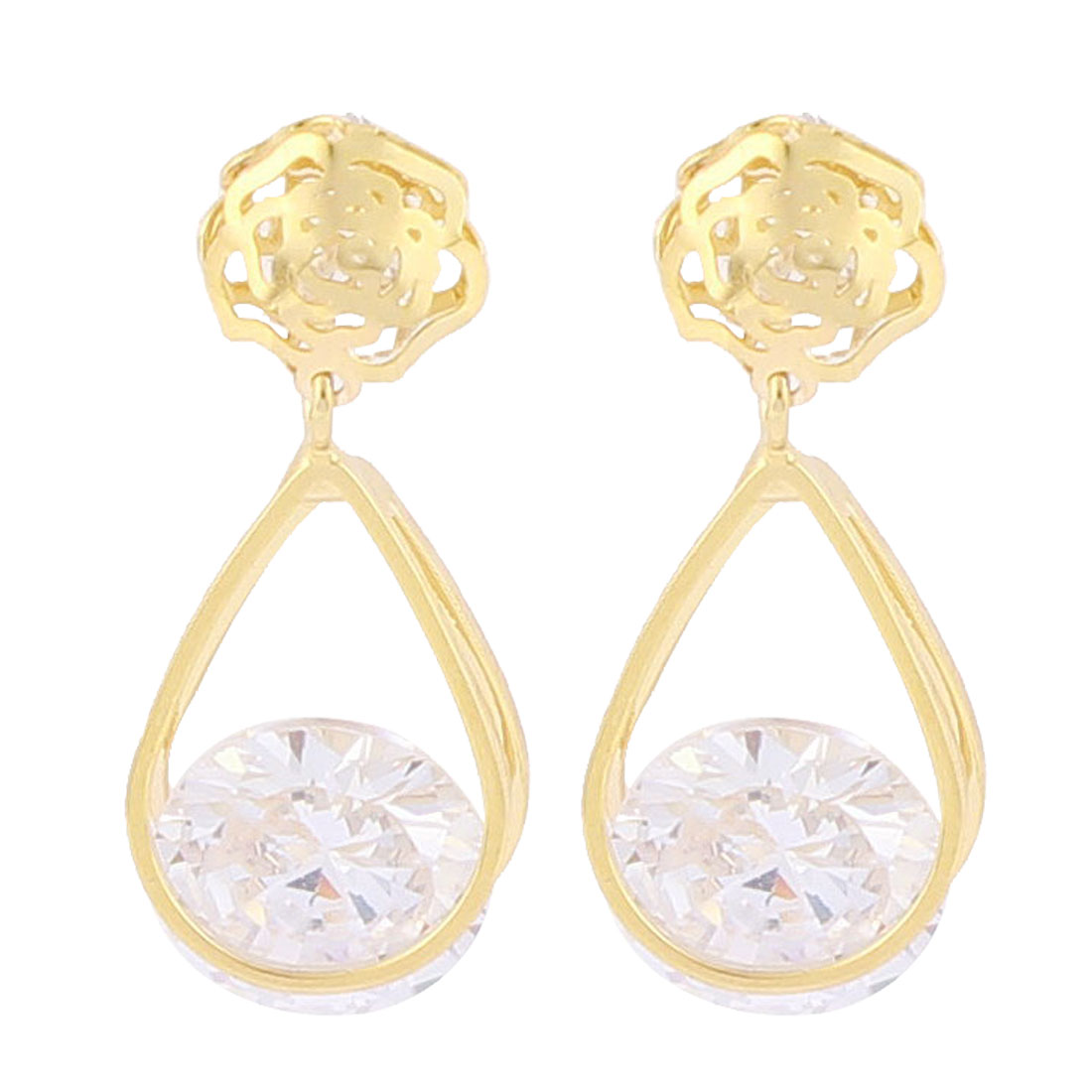 Faux Rhinestone Pandent Detail Hollow out Flower Stud Earrings Ear Pins Nails Gold Tone Pair for Woman