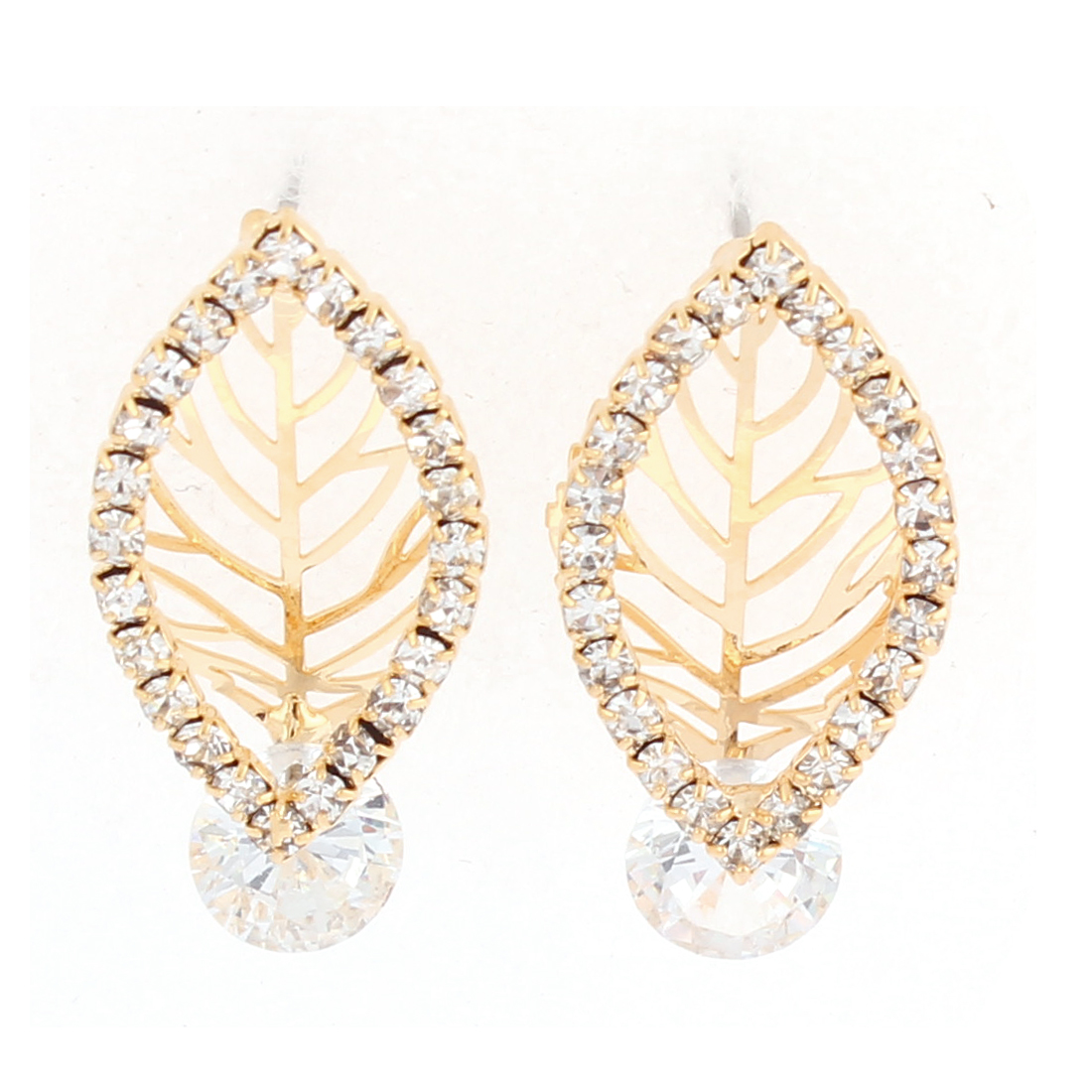 Faux Rhinestone Detail Hollow Leaf Pendant Stud Earrings Ear Pins Nails Gold Tone Pair