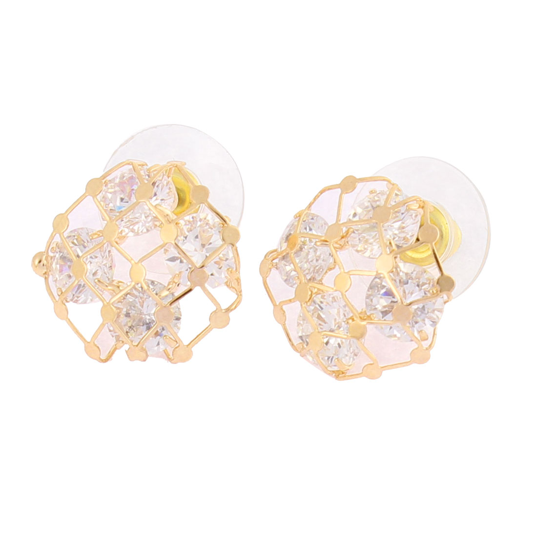 Faux Rhinestone Detail Hollow Round Shape Metal Netting Stud Earrings Ear Pins Nails Gold Tone Pair