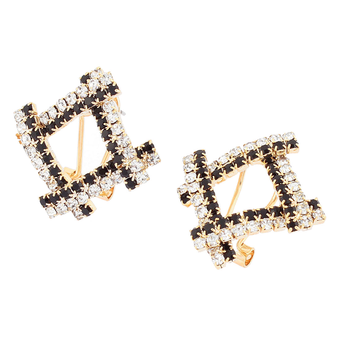 Woman Fashion Inlaid Faux Rhinestone Square Pandent Stud Earrings Ear Pins Nails Gold Tone Pair