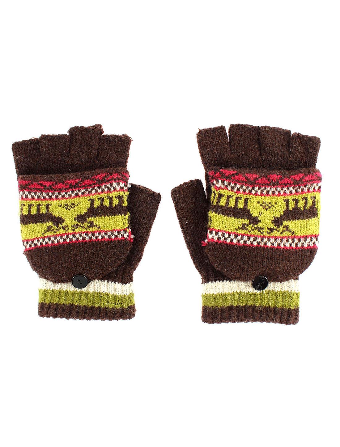 Unisex Deer Pattern Flip Convertible Half-finger Knitted Gloves Brown Pair
