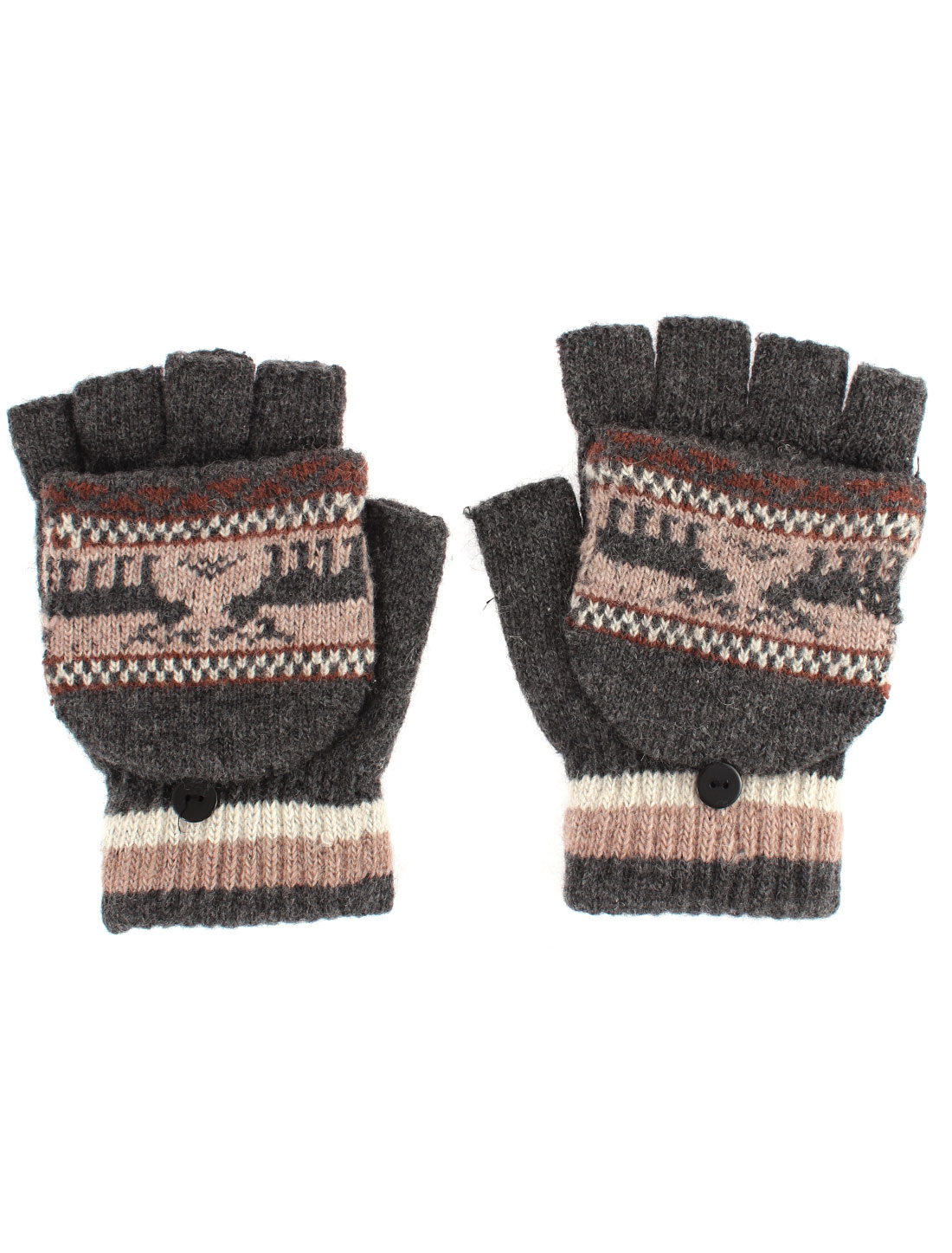 Unisex Deer Pattern Flip Convertible Half-finger Knitted Gloves Gray Pair