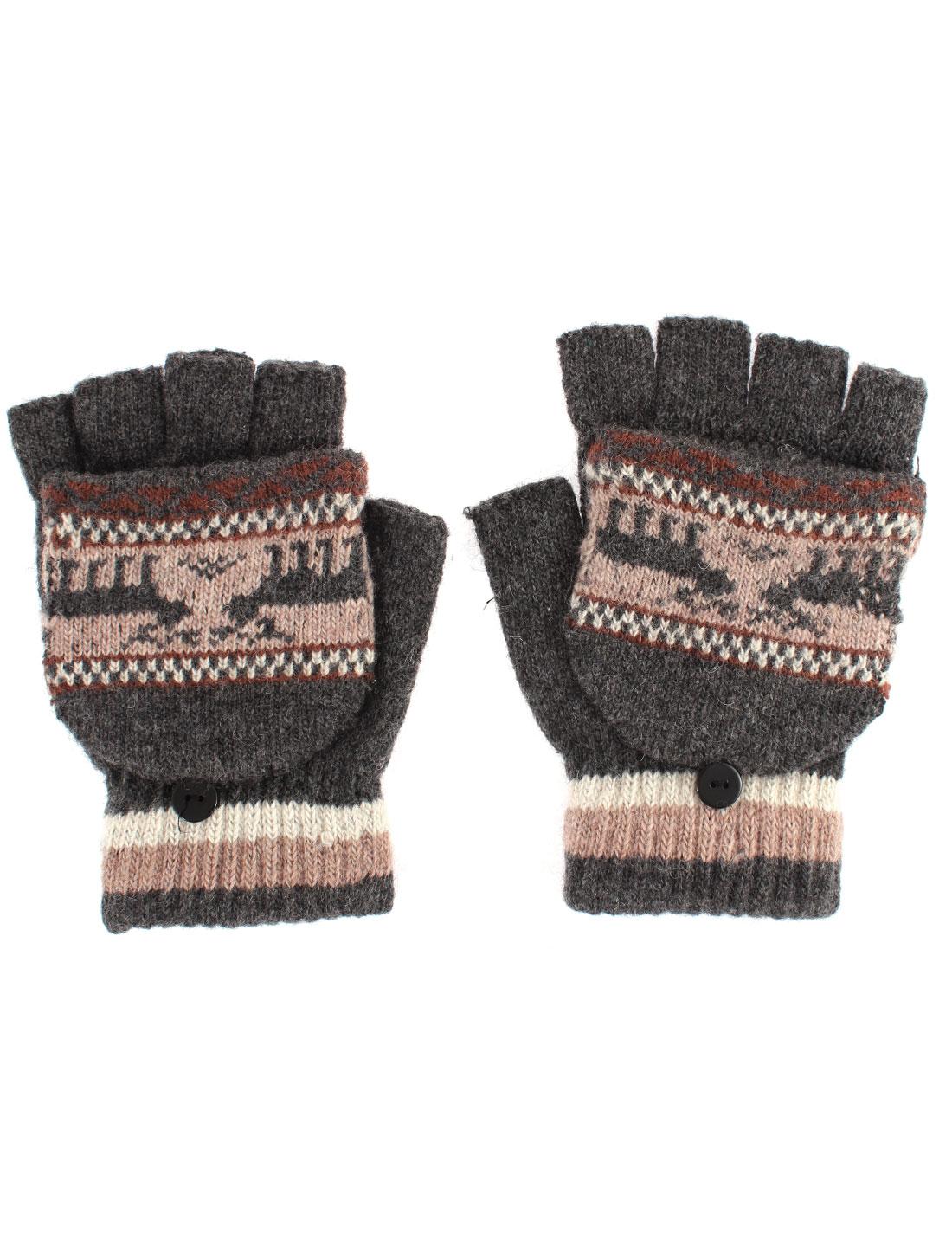 Unisex Deer Pattern Flip Convertible Half-finger Knitted Gloves Gray Pair