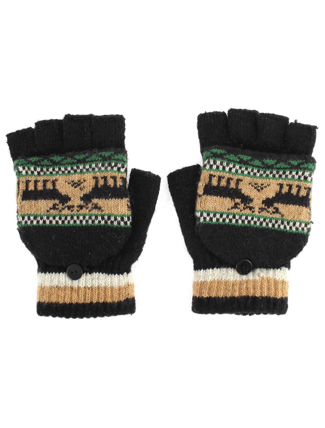 Unisex Deer Pattern Flip Convertible Half-finger Knitted Gloves Black Pair