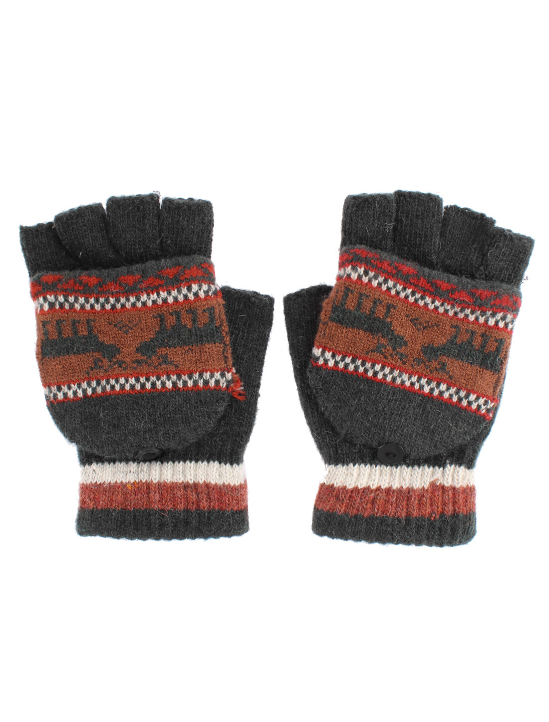 Unisex Deer Pattern Flip Convertible Half-finger Knitted Gloves Green Pair