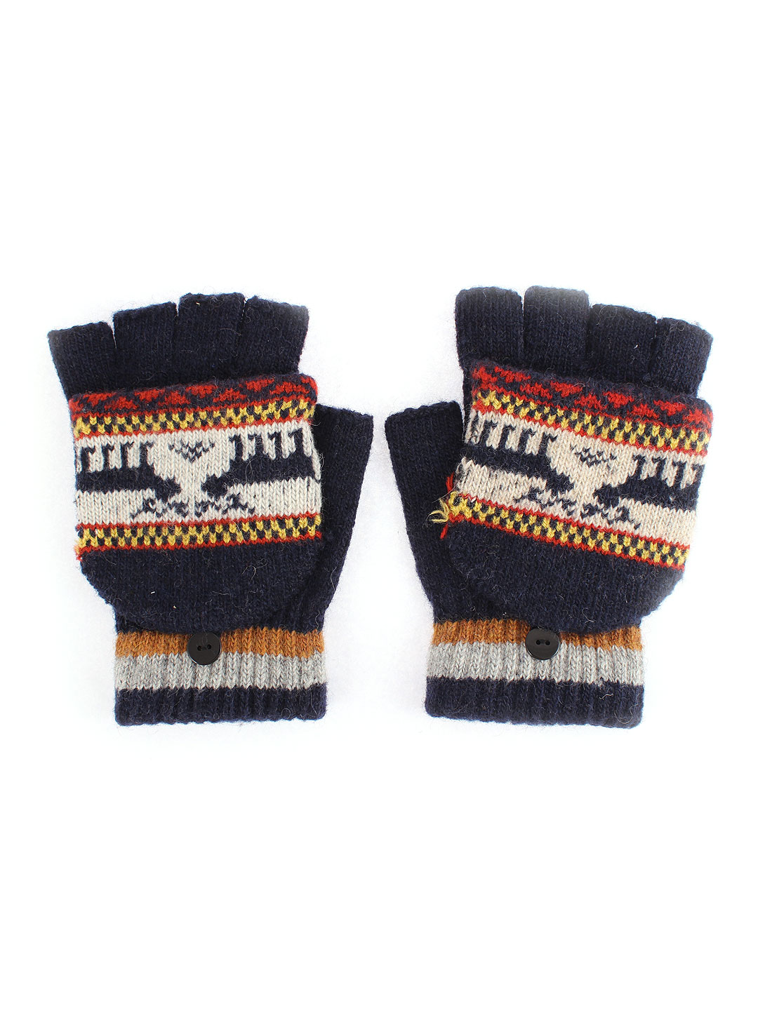 Unisex Deer Pattern Flip Convertible Half-finger Knitted Gloves Blue Pair