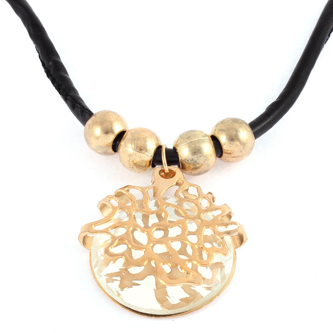 Women Beads Linked Round Shape Pendant Party Sweater Necklace Chain Jewelry Gold Tone
