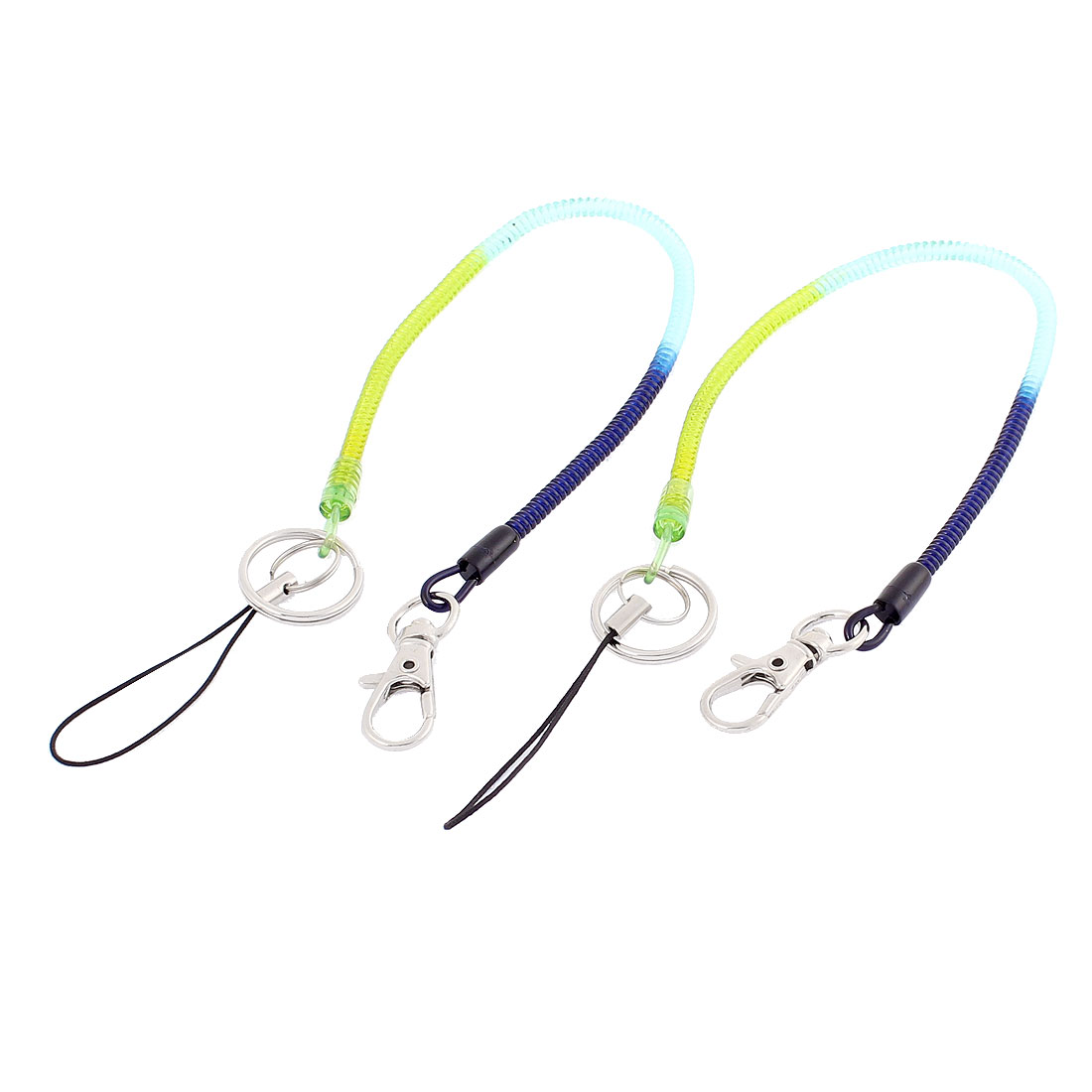 30cm Length Multicolor Plastic Lobster Clasp Key Ring Keychain Strap Flexible Spring Coil Cord 2 Pcs
