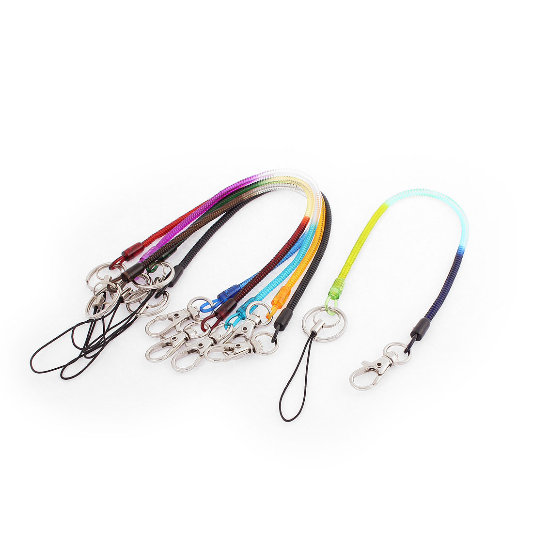 30cm Long Multicolor Plastic Lobster Claw Clasp Key Chain Strap Flexible Spring Sprial Coil Cord 6 Pcs
