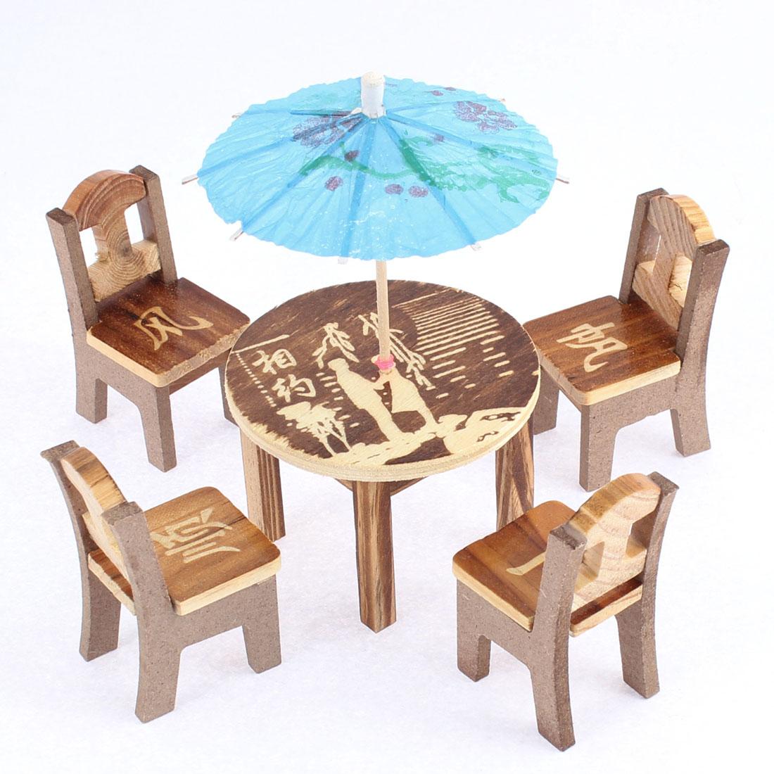 Home Office Wooden Desktop Decoration Display Simulative Mini Table Desk Umbrella Set