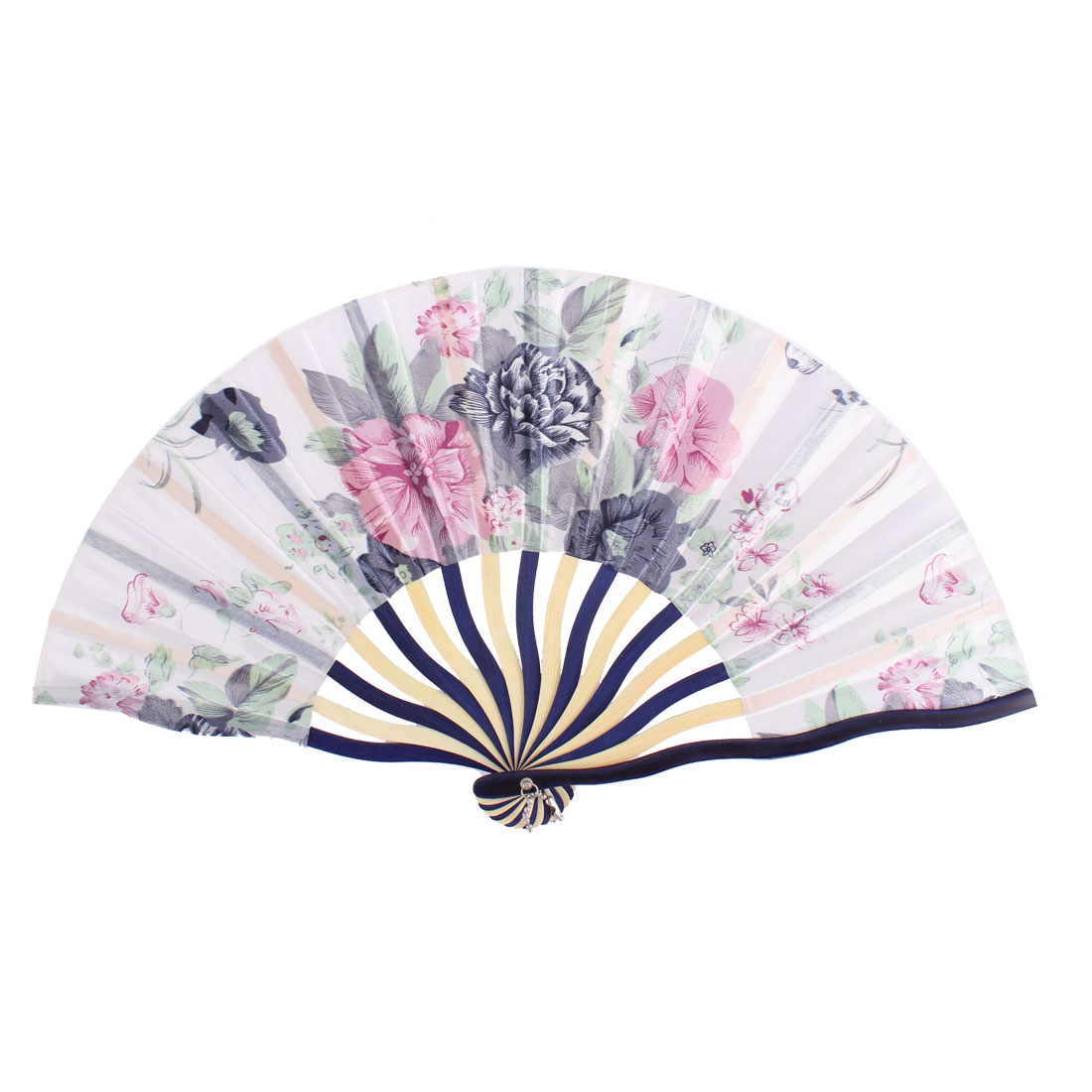 Dancer Wedding Party Floral Printed Nylon Bamboo Frame Portable Handheld Folding Fan Art Decoration