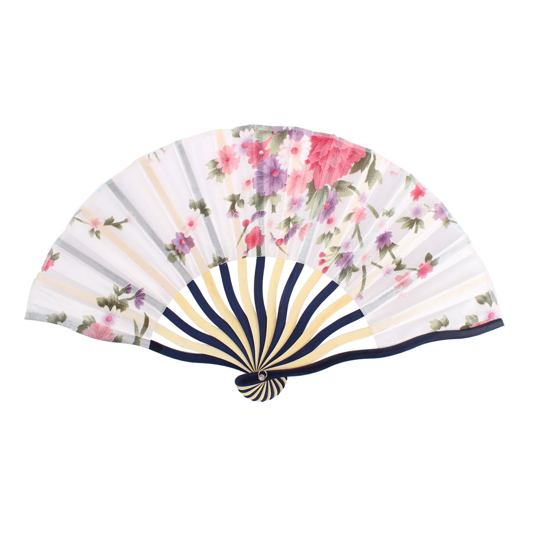 Dancer Wedding Party Floral Printed Nylon Bamboo Frame Portable Foldable Handheld Hand Held Fan Art Decoration